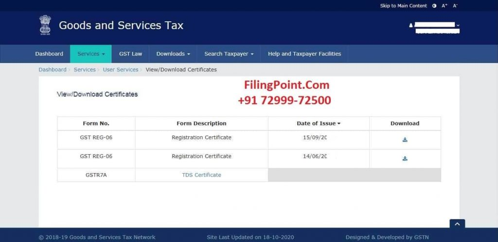 download gst certificate by arn number  - FilingPoint